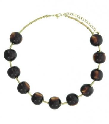 Bruin gekleurde korte halsketting met 11 kralen