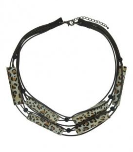 Mooie bruine koord halsketting van houten elementen in tijger print