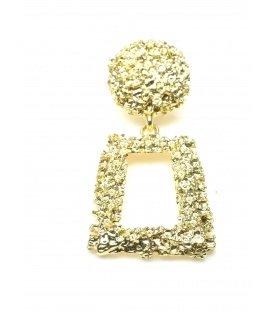 Goudkleurige metalen oorclips met hoekige hanger