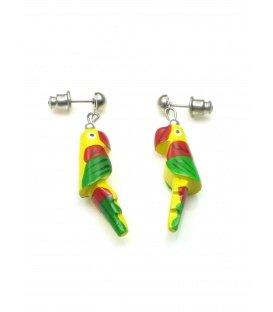 Vrolijk gekleurde gele papegaai oorbellen