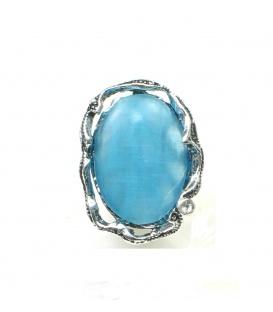 Zilverkleurige clip oorbellen met blauwe natuursteen inleg