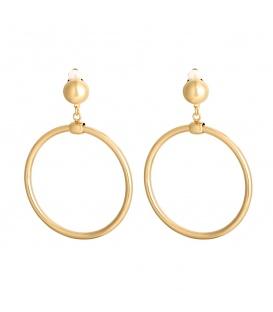 Goudkleurige oorclips met ronde hanger