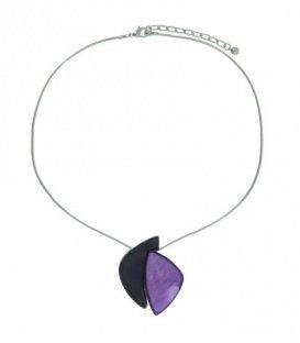 Zilverkleurige snake-chain korte halsketting met 2 kleuren paars als hanger