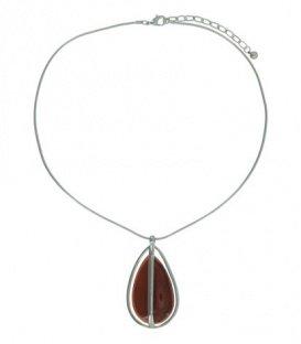 Zilverkleurige snake-chain korte halsketting met een oranje druppelvormige hanger
