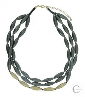 Mooie grijze/goudkleurige korte halsketting met 3 rijen ovale kralen