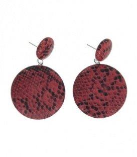 Rood gekleurde oorbellen met ronde hanger in dierenprint