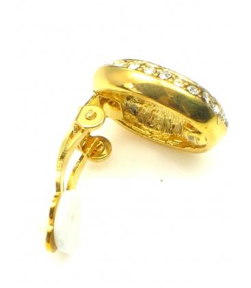 Ovale goudkleurige oorclip met strass steentjes