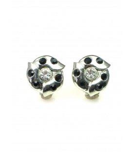 Mooie ronde metalen oorclips met zwarte en heldere strass