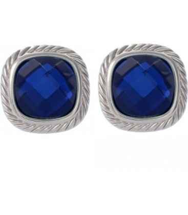 Donkerblauwe oorbellen met zilverkleurige rand