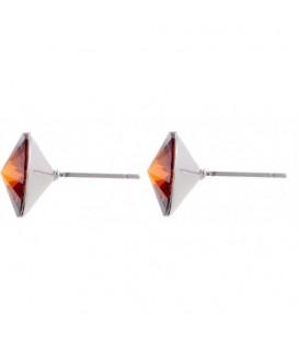 Oorsteker oorbellen met bruine Swarovski steen (12 mm)