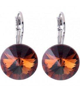 Swarovski oorbellen met bruine strassteen 10 mm