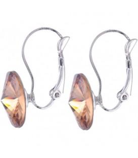 Swarovski oorbellen met lichtbruine strassteen 10 mm