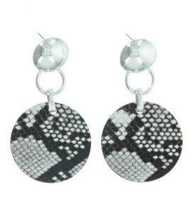 Zwart / witte oorbellen met ronde hanger en dieren print
