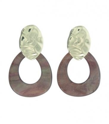 Bruine oorbellen met gedeukte schijf en druppelvormige hanger