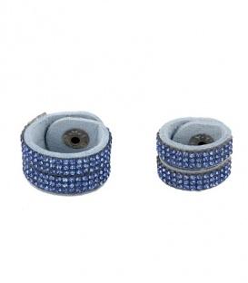 Blauwe scarvelet met strass steentjes