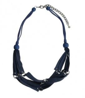 Donker-blauwe korte halsketting van repen leer