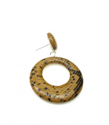 Bruine oorbellen met slangen print