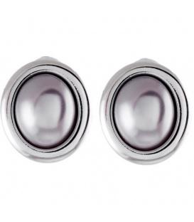 Zilver grijze kleurige ovale oorclip