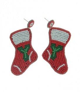 Rode oorbellen met als hanger kerstsokken