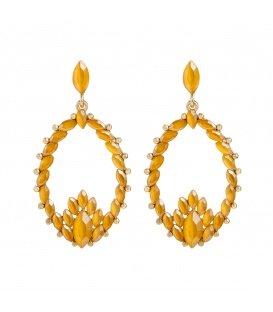Gele oorbellen met een mooie hanger met strass steentjes