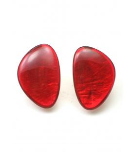 Culture Mix rode oorclips met parelmoer inleg