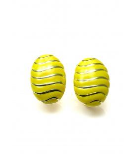 Gele oorclip met goudkleurige strepen van A-Zone
