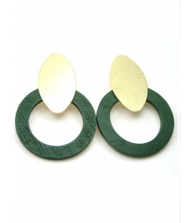 Oorclips met groene houten ring en goudkleurige clip