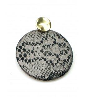 Zilvergrijze oorbellen met slangenhuid print