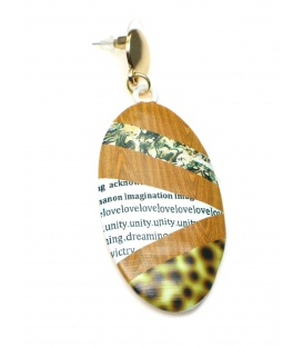 Langwerpige ovale bruine oorbellen met tekst print