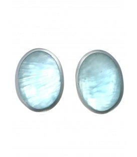 Culture Mix licht blauwe ovale oorclips met zilverkleurige rand