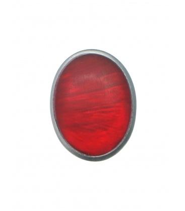 Culture Mix rode ovale oorclips met zilverkleurige rand