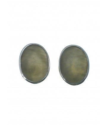 Culture Mix grijze ovale oorclips met zilverkleurige rand