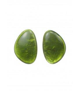 Culture Mix olijf groene oorclips met parelmoer inleg