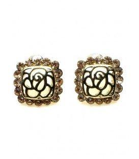 Goudkleurige oorbellen met rosé gold strass steentjes