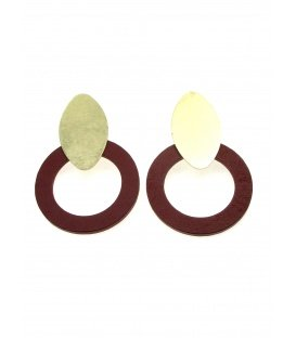 Oorclips met roest rode houten ring en goudkleurige clip