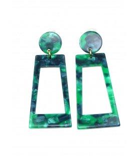 Groene langwerpige rechthoekige oorclips