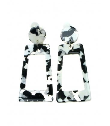 Zwarte witte langwerpige rechthoekige oorclips