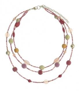 Roze gekleurde korte kralen halsketting van 3 rijen en een mixed aan kralen