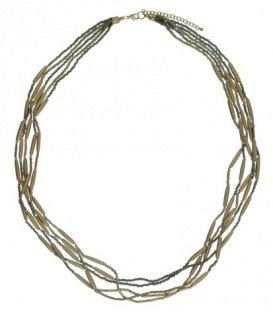 Koper- / goudkleurige halsketting met kleine kraaltjes en 6 strengen