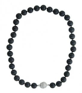 Zwarte parel halsketting met magneet sluiting