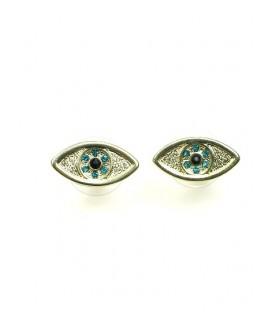 Ovale goudkleurige oorbellen met groene inleg