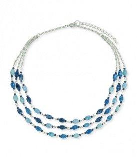 Korte halsketting met kleine blauwe kraaltjes