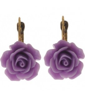 Paarse roosjes oorbellen