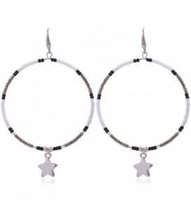 Ronde oorbellen met grijze kralen en ster