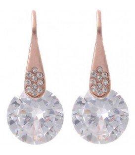 Rose goldkleurige oorbellen met helder kristal steen en strass