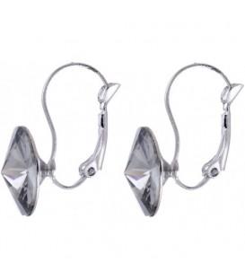 Swarovski oorbellen met grijze strassteen 10 mm