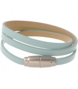 Licht blauwe wikkelarmband met magneet sluiting