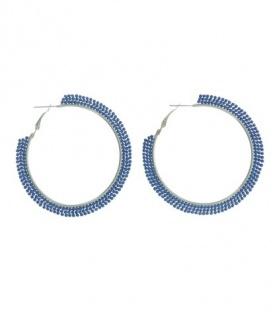 Kobalt blauwe creolen met 3 rijen kleine kraaltjes