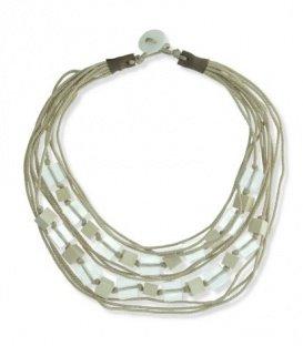 Beige koord halsketting van vierkante kralen van hout en acryl