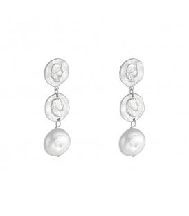 Zilverkleurige oorbellen met 2 munten en parelbedel